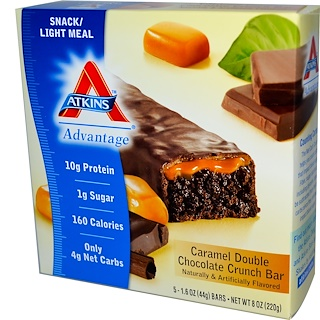 Atkins, Caramel Double Chocolate Crunch Bar, 5 Bars, 1.55 oz (44 g) Each