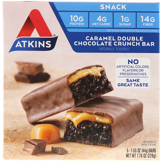Atkins, 스낵, 카라멜 더블 초콜릿 크런치 바, 5개, 각각 1.55 oz (44 g)
