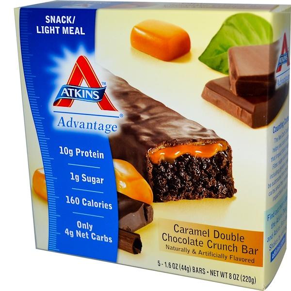 Atkins, キャラメルダブルチョコレート・クランチバー、5個、各1.55オンス (44 g)
