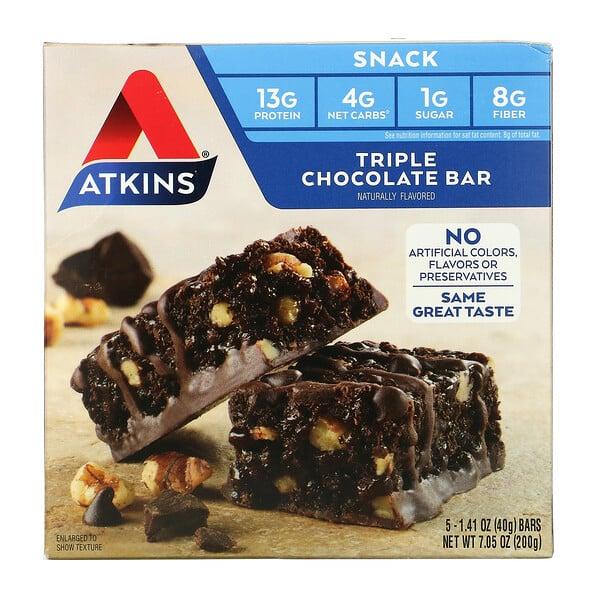 Triple Chocolate Bar, 5 Bars, 1.41 oz (40 g) Each