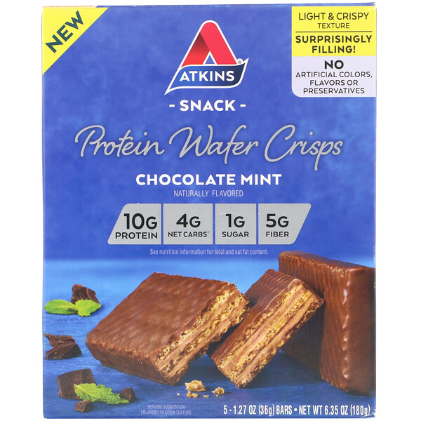 Atkins, Protein Wafer Crisps, Chocolate Mint, 5 Bars, 1.27 oz (36 g) Each (Discontinued Item)