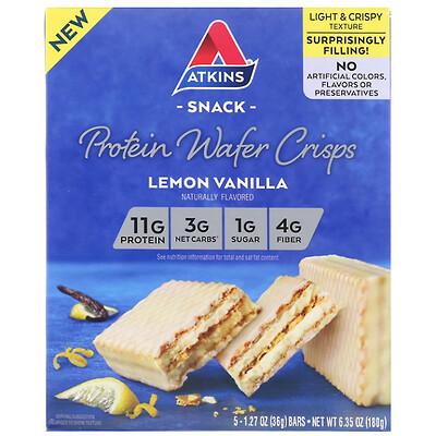 Atkins протеиновые вафли, лимон и ваниль, 5шт., 36г (1, 27унции) каждая  - купить со скидкой