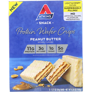 Atkins, Protein Wafer Crisps, Peanut Butter, 5 Bars, 1.27 oz (36 g) Each