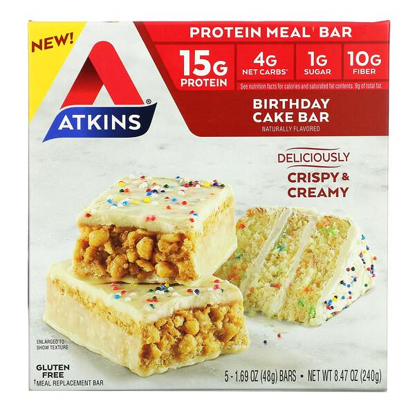 Protein Meal Bar, Birthday Cake Bar, 5 Bars, 1.69 oz (48 g) Each