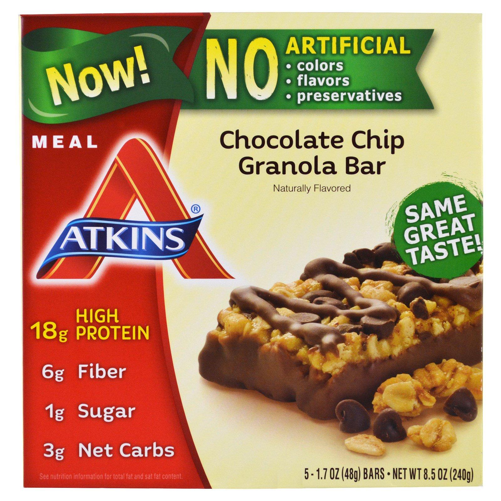 Atkins meal chocolate chip granola bar bars oz