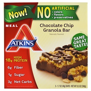Atkins, Meal, Chocolate Chip Granola Bar, 5 Bars, 1.7 oz (48 g) Each