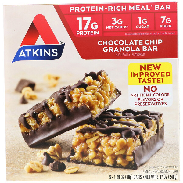 Atkins, Chocolate Chip Granola Bar, 5 Bars, 1.69 oz (48 g) Each