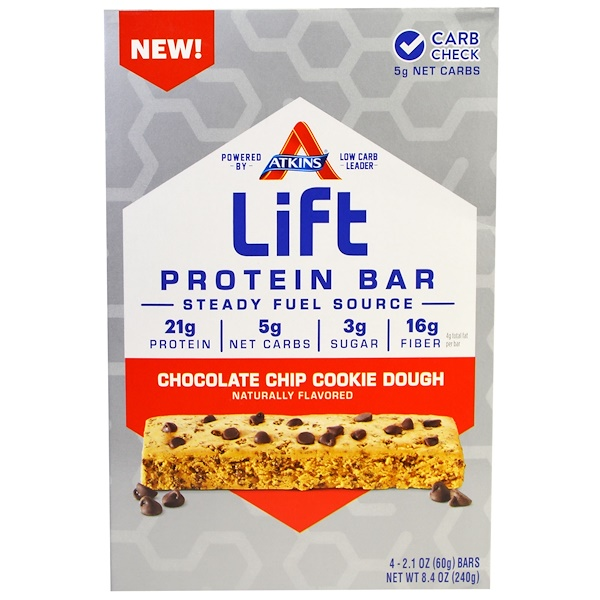 Atkins, Lift Protein Bar Chocolate Chip Cookie Dough, 4 Bars,  2.1 oz (60 g) Each (Discontinued Item)