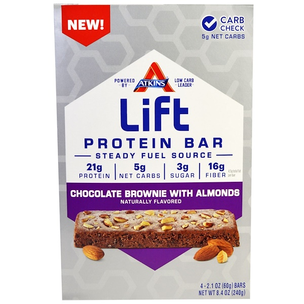 Atkins, Lift Protein Bar, Chocolate Brownie with Almonds, 4 Bars - 2.1 oz (60 g) Each (Discontinued Item)