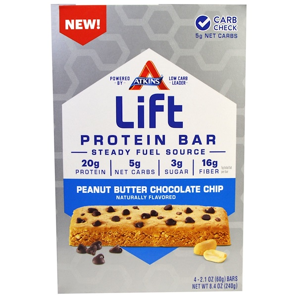 Atkins, Lift Protein Bar, Peanut Butter Chocolate Chip, 4 Bars, 2.1 oz (60 g) Each (Discontinued Item)
