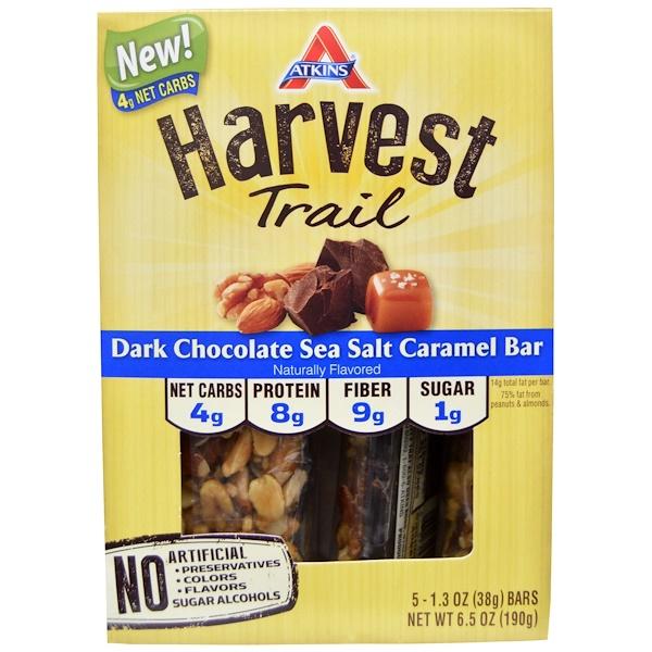 Atkins, Harvest Trail, Dark Chocolate Sea Salt Caramel Bar, 5 Bars, 1.3 oz (38 g) Each