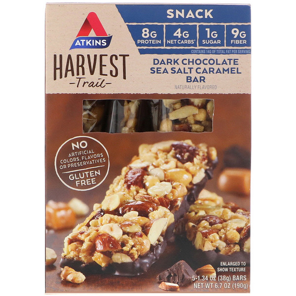Atkins, Harvest Trail, Dark Chocolate Sea Salt Caramel Bar, 5 Bars, 1.34 oz (38 g) Each (Discontinued Item)
