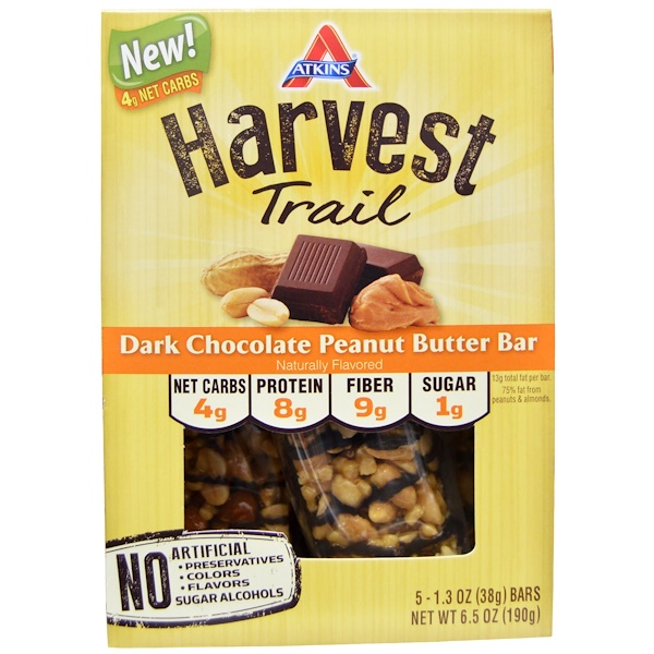Atkins, Harvest Trail, Dark Chocolate Peanut Butter Bars, 5 Bars, 1、3 oz (38 g) Each