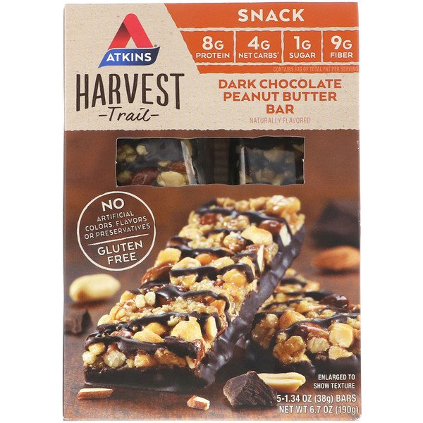 Atkins, Harvest Trail, Dark Chocolate Peanut Butter Bars, 5 Bars, 1.34 oz (38 g) Each (Discontinued Item)