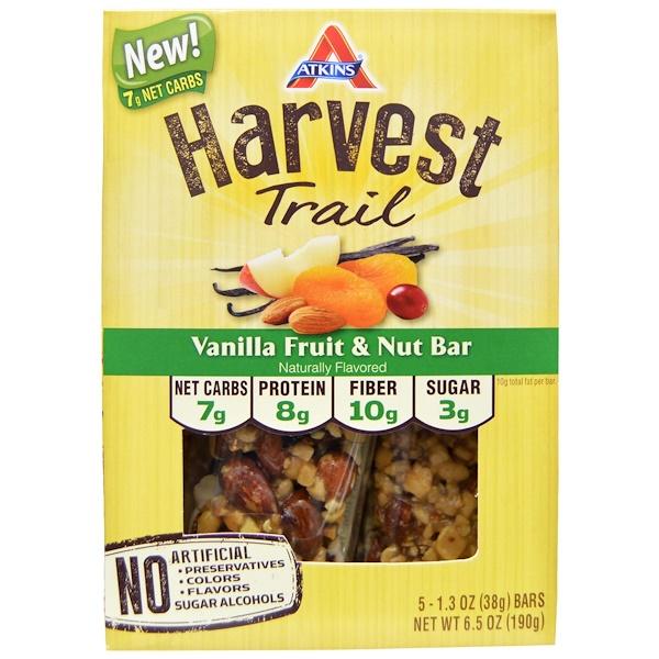 Atkins, Harvest Trail, Vanilla Fruit & Nut Bar, 5 Bars, 1.3 oz (38 g) Each (Discontinued Item)