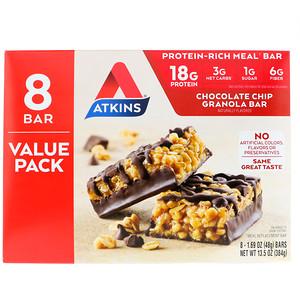 Акткинс, Meal Bar, Chocolate Chip Granola Bar, 8 Bars, 1.69 oz (48 g) Each отзывы покупателей