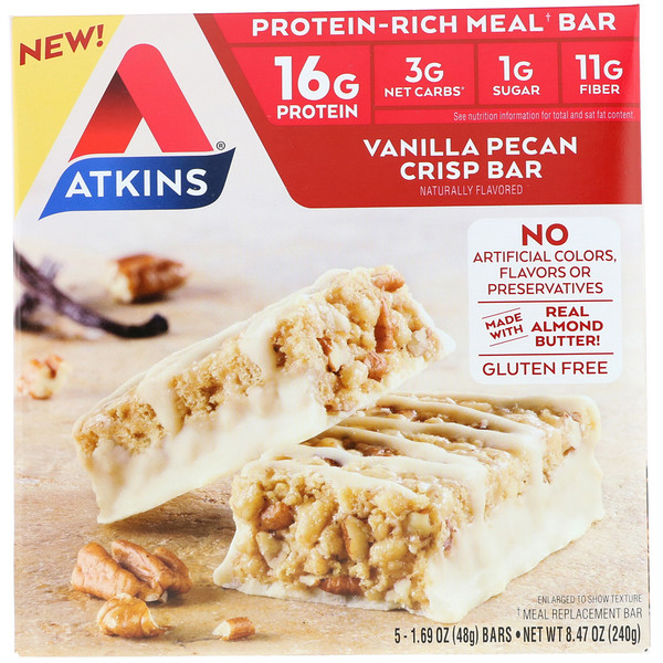 Atkins, Meal Bar, Vanilla Pecan Crisp Bar, 5 bars, 1、69 oz (48 g) Each