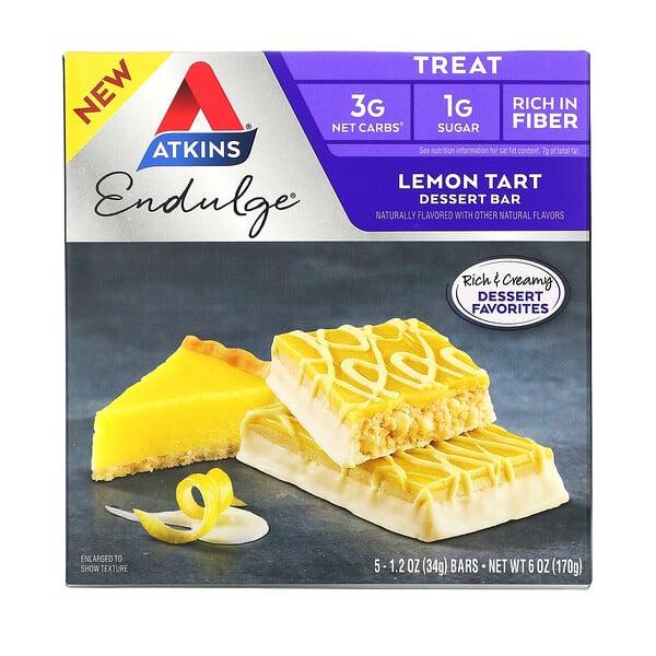 Endulge, Lemon Tart, 5 Bars, 1.2 oz (34 g) Each