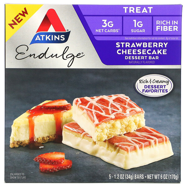 Endulge, Strawberry Cheesecake, 5 Bars, 1.2 oz (34 g) Each