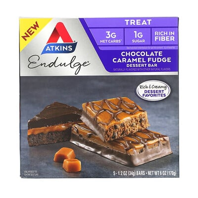 Atkins Endulge, Chocolate Caramel Fudge, 5 Bars, 1.2 oz (34 g) Each
