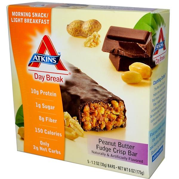 Atkins, Day Break, Peanut Butter Fudge Crisp, 5 Bars, 1.2 oz (35 g) Each