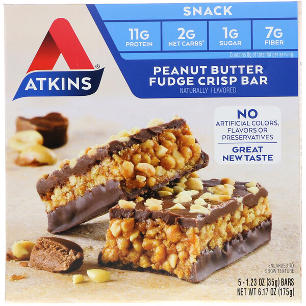 Snack, Peanut Butter Fudge Crisp Bar, 5 Barrinhas, 35 g (1,2 oz) Cada