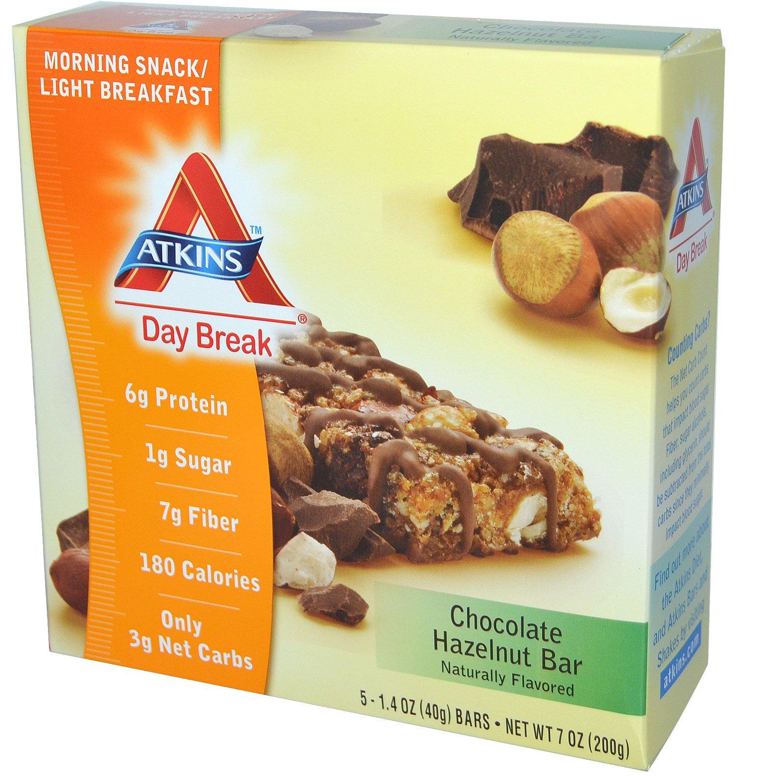 Atkins, Полдник, Утренняя закуска / легкий завтрак, шоколадная плитка с лесным орехом, 5 плиток по 1.4 унций (40 г)