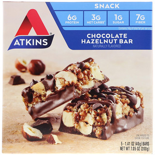 Atkins, Chocolate Hazelnut Bar, 5 Bars, 1.41 oz (40 g) Each