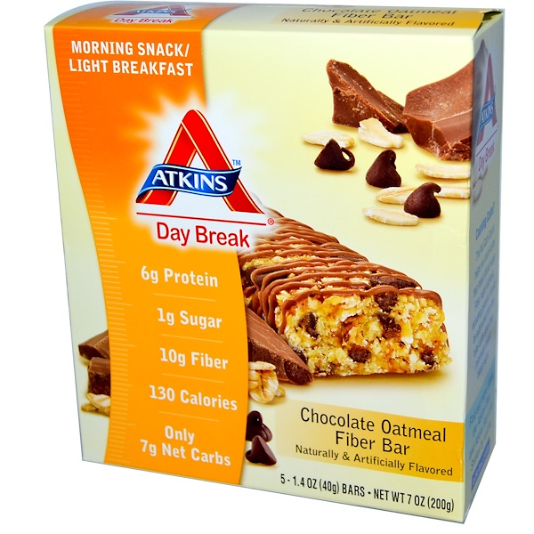 Atkins, Day Break, Chocolate Oatmeal Fiber Bar, 5 Bars, 1.4 oz (40 g) Each (Discontinued Item)