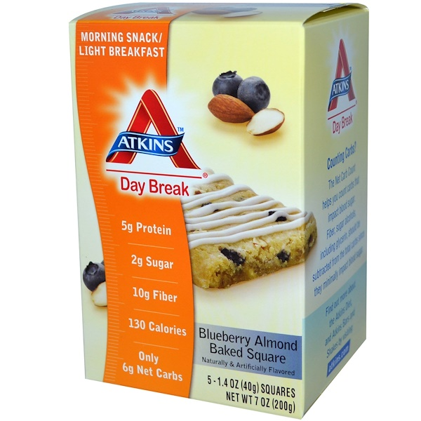 Atkins, Day Break, Blueberry Almond Baked Square, 5 Squares, 1.4 oz (40 g) Each (Discontinued Item)