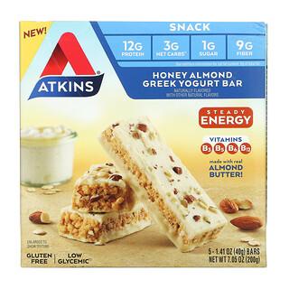 Atkins, Snack, Honey Almond Greek Yogurt Bar, Gluten Free, 5 Bars, 1.41 oz (40 g) Each