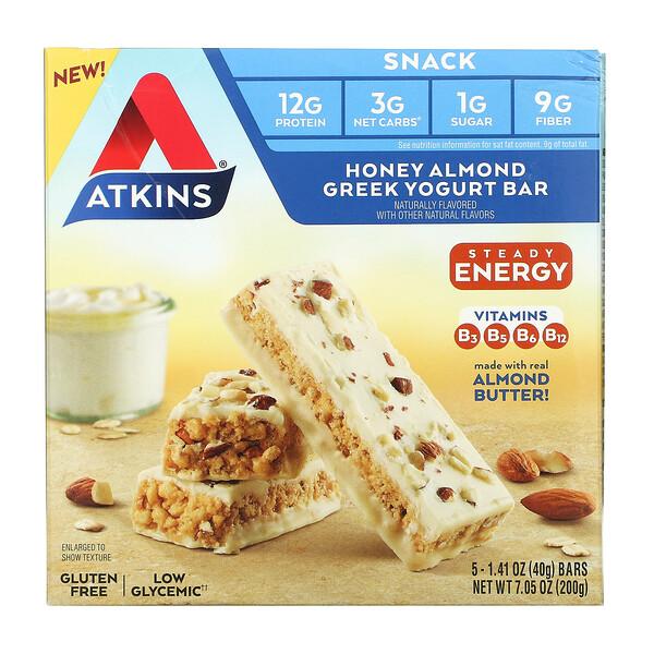 Honey Almond Greek Yogurt Bar, Gluten Free, 5 Bars, 1.41 oz (40 g) Each