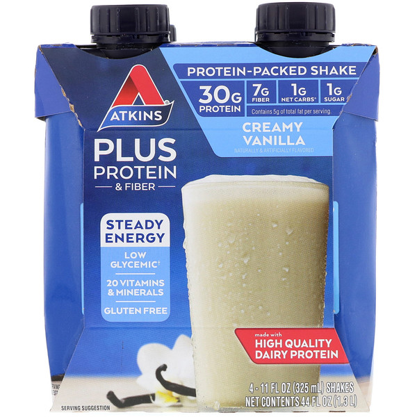 Atkins, Plus Protein & Fiber, Creamy Vanilla, 4 Shakes, 11 fl oz (325 ml) Each (Discontinued Item)