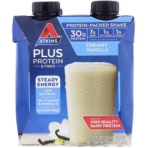 Акткинс, Plus Protein & Fiber, Creamy Vanilla, 4 Shakes, 11 fl oz (325 ml) Each отзывы