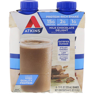Atkins, Protein Rich Shake, Milk Chocolate Delight, 4 Shakes, 11 fl oz (325 ml) Each