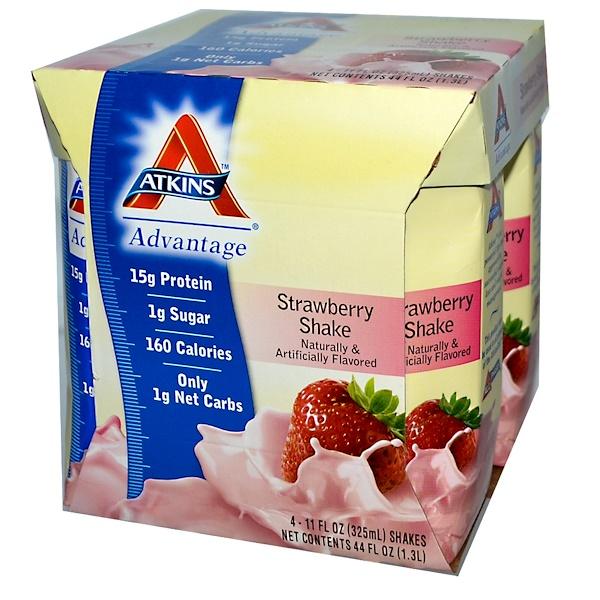 Atkins, アドバンテージ, ストロベリー シェイク, 4 シェイク, 各11 fl oz (325 ml)