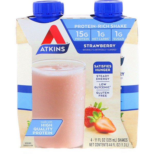 Atkins, Protein-Rich Shake, Strawberry, 4 Shakes, 11 fl oz (325 ml) Each