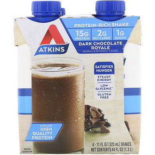 Atkins, 黑巧克力皇家奶昔,4份奶昔,11 fl oz (325 ml) 每份