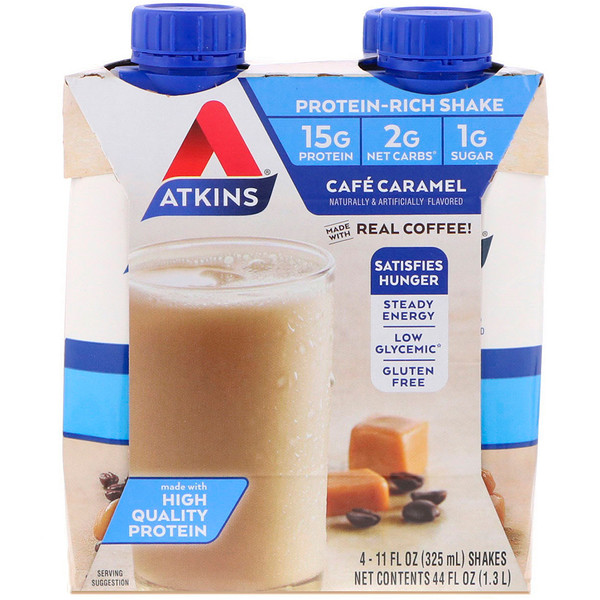 Atkins, Cafe Caramel Shake, 4 Shakes, 11 fl oz (325 ml) Each (Discontinued Item)
