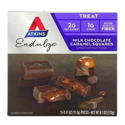 Купить Atkins Milk Chocolate Caramel Squares, 15 Pieces, 0.41 oz (11.5 g) Each