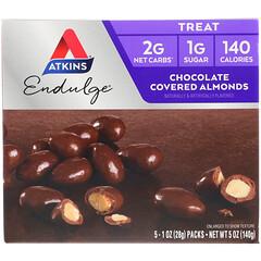Atkins, 엔달지 (Endulge),  초콜릿 씌운 아몬드, 5 팩, 각각 1 온스 (28 그램)