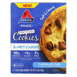 Atkins, Snack, Protein Cookies, Chocolate Chip, 4 Cookies, 1.38 oz (39 g) Each