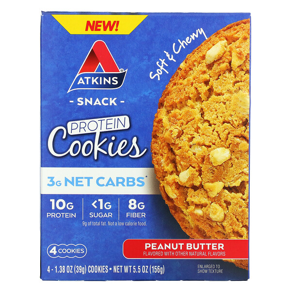 Atkins, Snack, Protein Cookies, Peanut Butter, 4 Cookies, 1.38 oz (39 g) Each