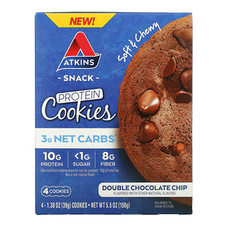 Atkins, Snack, Protein Cookies, Double Chocolate Chip, 4 Cookies, 1.38 oz (39 g) Each
