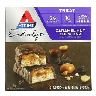 Atkins, Endulge, Caramel Nut Chew Bar, 5 Bars, 1.2 oz (34 g) Each