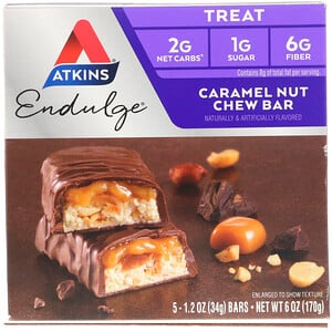 Акткинс, Endulge, Caramel Nut Chew Bar, 5 Bars, 1.2 oz (34 g) Each отзывы покупателей