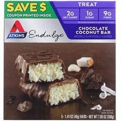 Atkins, Endulge, barra de chocolate con coco, 5 barras, 1,41 oz (40 g) cada una