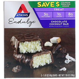 Atkins, Endulge, barra de chocolate con coco, 5 barras, 1,41 oz (40 g) cada una