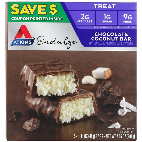 Atkins, Endulge, Barra de Coco com Chocolate, 5 barras, 40 g (1,41 oz) Cada