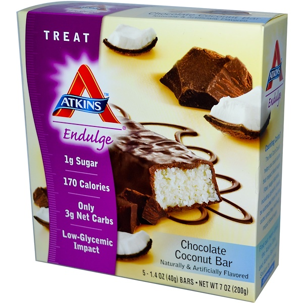 Atkins, Endulge, Chocolate Coconut Bar, 5 Bars, 1.4 oz (40 g) Each